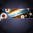 Abstract retro layout with circles, dots and lines. Vector