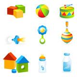 Fototapety Babynahrung und Babyspielzeug