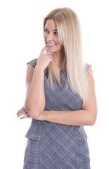 Attraktive lachende schöne junge Blondine in Bürokleidung