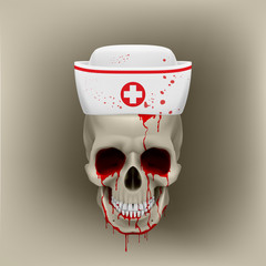 Bleeding skull in nurse cap