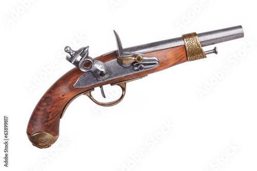 Imitation of ancient Spanish pistol with threaded metal