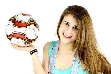 Cute girl with soccer ball smiling