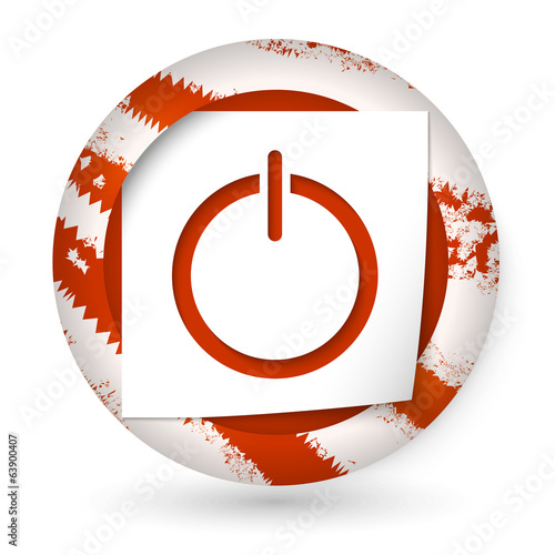 red vector abstract icon with paper and power button