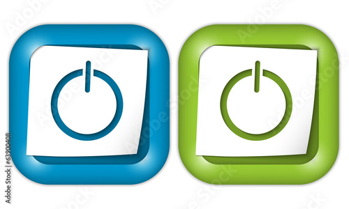set of two icons with blank paper and power button