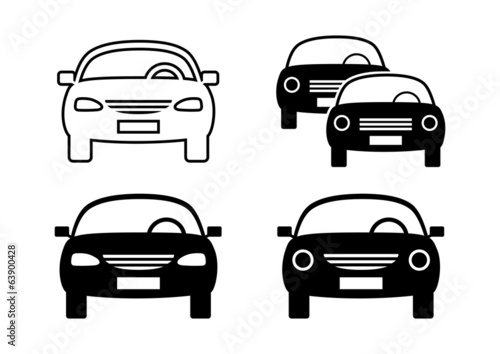 Black car icons on white background