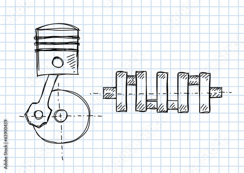 Crankshaft and piston on squared paper