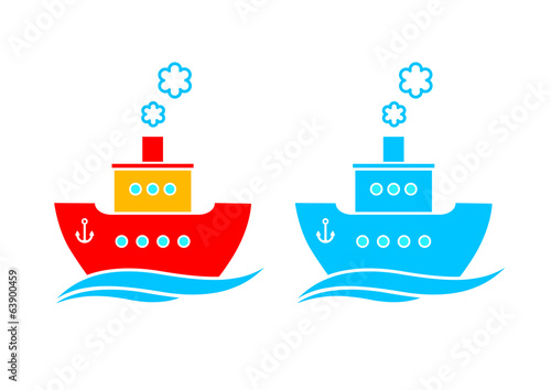 Ship icon on white background