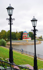 Kremlin in Uglich. The Volga river embankment.