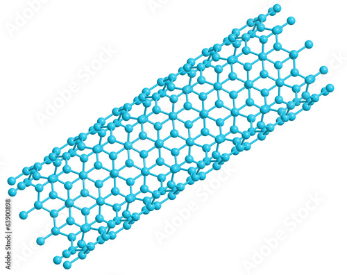 3D model of a carbon nanotube, side view