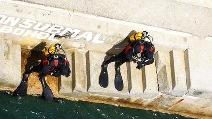 Buceadores a punto de lanzarse al agua