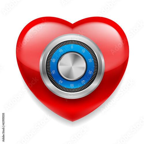 Shiny red heart as a safe