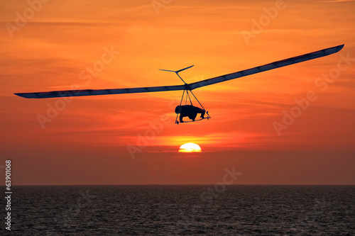 Hang Glider at sunset - 63901068