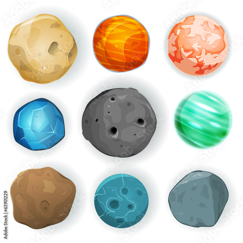 Fototapeta Comic Planets Set