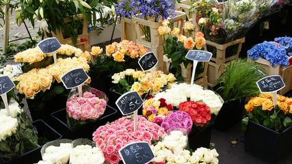 Flores de un puesto callejeros en Marsella, Francia