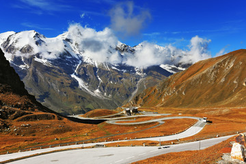 Famous road in Austrian Alps - Grossglocknershtrasse