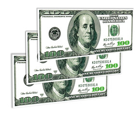 A few banknotes of one hundred USA dollars on white