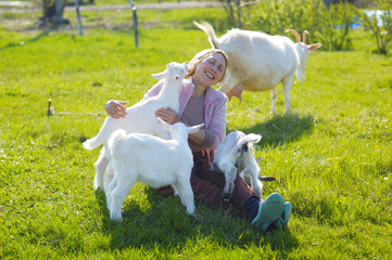 goats and woman