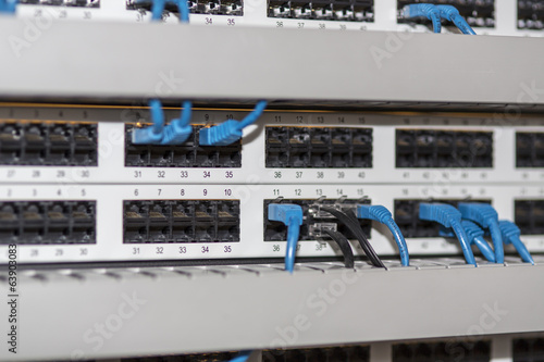 Server panel with cables and connectors