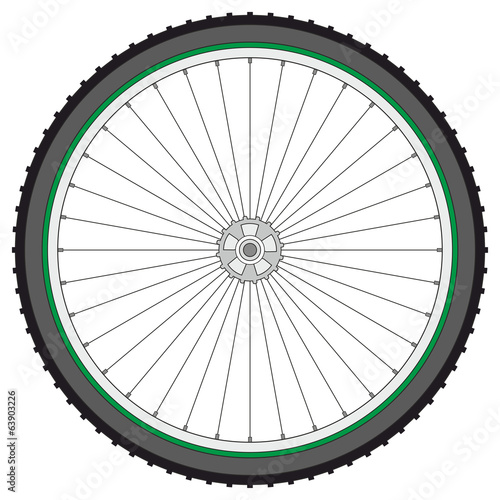 Mountain bicycle wheel on a white background, vector