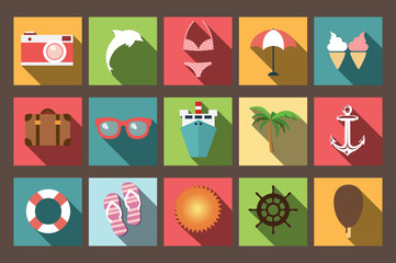 Summer vacation flat icons with long shadow, design elements