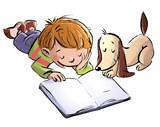 niño y perro leyendo