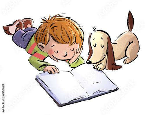 niño y perro leyendo - 63904012