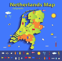 Netherlands Holland map infographic political paper 3D