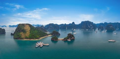 Panorama of Halong Bay Vietnam. Panoramic view of Ha Long island