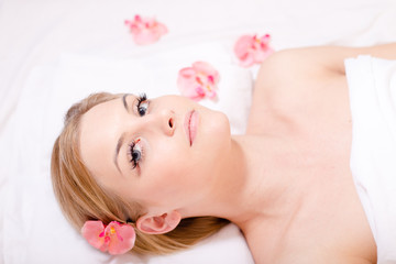 woman relaxing during spa procedures