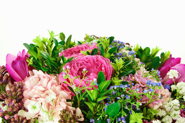Beautiful bouquet of flowers with roses and hydrangeas