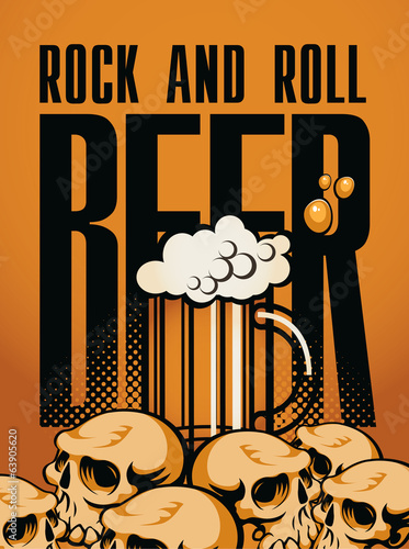 banner beer and rock 'n' roll with human skulls