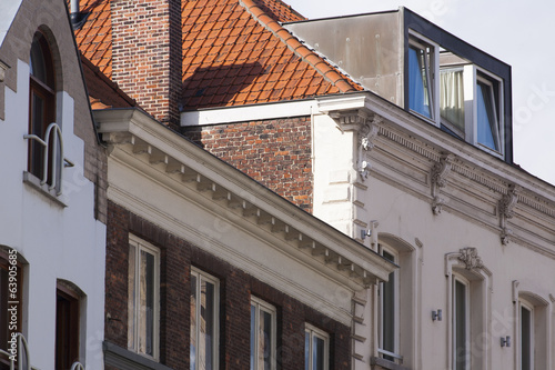 close up traditional brickwork architecture Bruges, Belgium