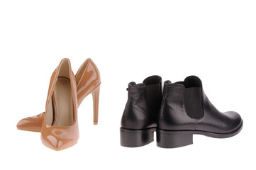 beige  and black women shoes