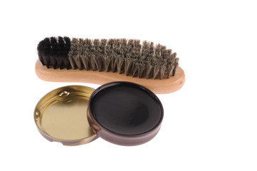 Shoe brush with wax