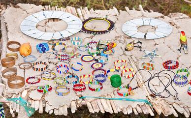 Masai traditional jewelry in village market.