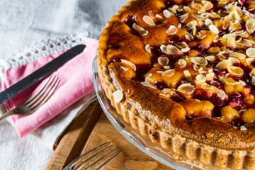 Raspberry and almond tart