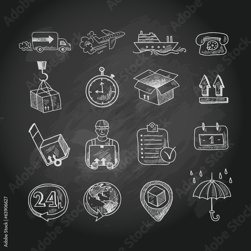 Logistic chalk board icons set