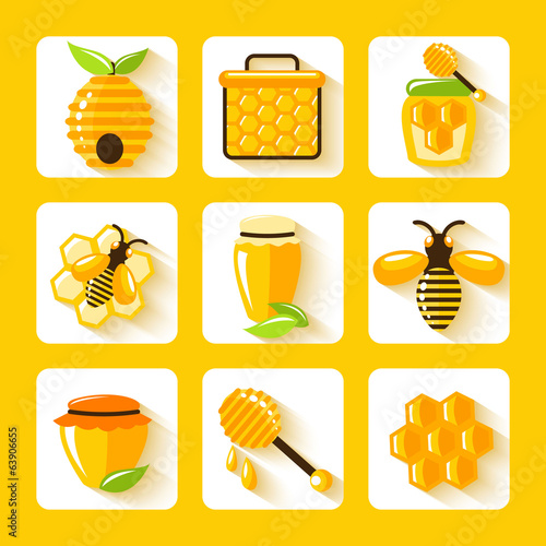 Honey Flat Icons Set