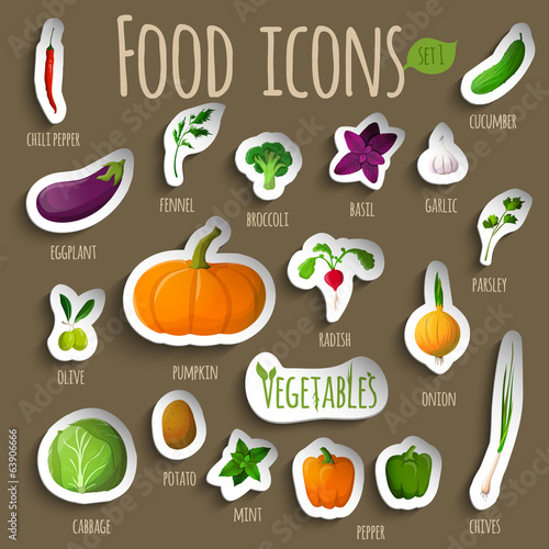 Vegetable stickers set