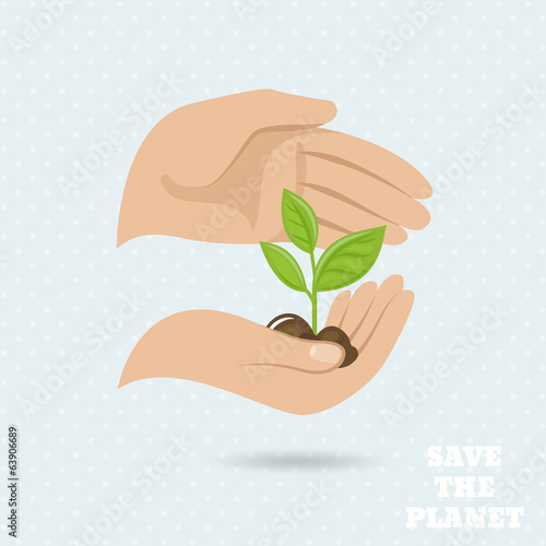 Hands earth protect poster