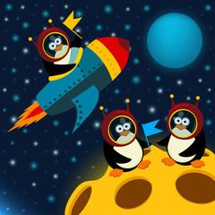 penguin on moon - vector illustration