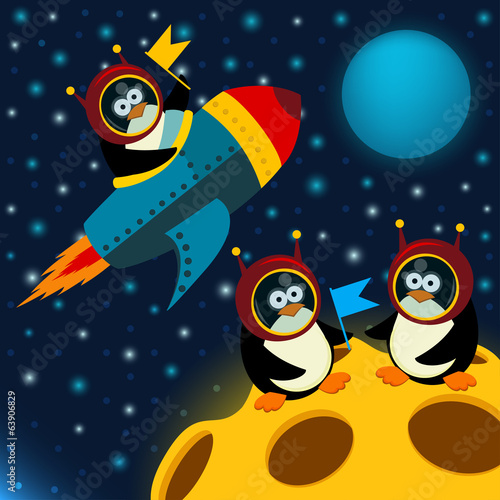 penguin on moon - vector illustration