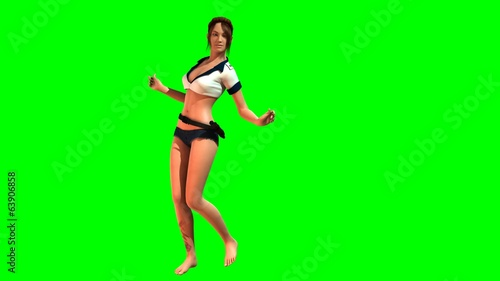 Hot Girl in sexy Police Dress dances - green screen