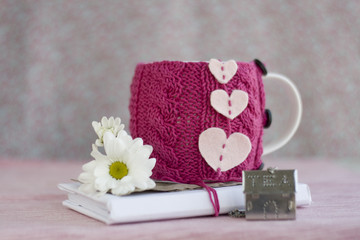 A white cup in a pink sweater and an old notebook