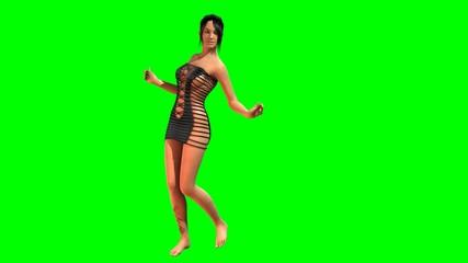 Hot Girl in sexy mini Dress dances - green screen