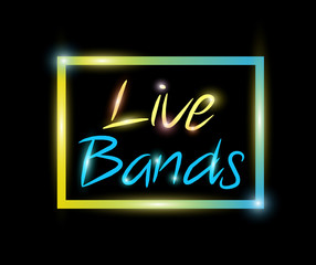 Live bands colorful neon vector
