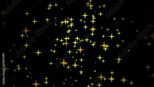 fast motion of a bright yellow stars on black backgrounds