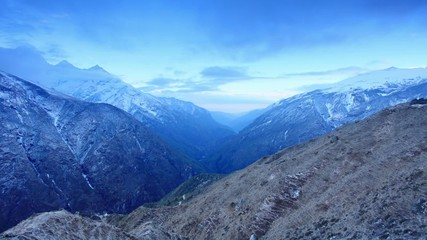 Timelapse sunrise in the mountains Thamserku, Himalayas, Nepal