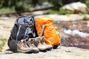 Hiking backpacks and hiker shoes