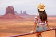 Cowgirl woman enjoying view of Monument Valley